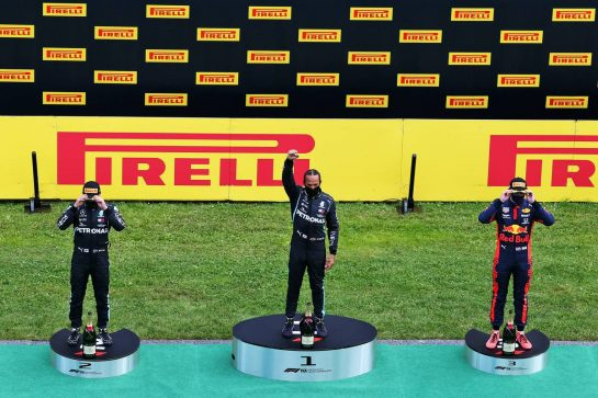 The podium (L to R): Valtteri Bottas (FIN) Mercedes AMG F1, second; Lewis Hamilton (GBR) Mercedes AMG F1, race winner; Max Verstappen (NLD) Red Bull Racing, third. 12.07.2020. Formula 1 World Championship, Rd 2, Steiermark Grand Prix, Spielberg, Austria, Race Day. - www.xpbimages.com, EMail: requests@xpbimages.com © Copyright: Moy / XPB Images