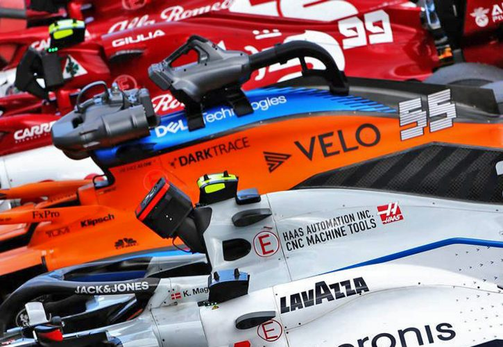 Cars in parc ferme at the end of the race. 12.07.2020.