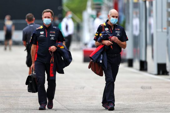 (L to R): Christian Horner (GBR) Red Bull Racing Team Principal with Adrian Newey (GBR) Red Bull Racing Chief Technical Officer. 17.07.2020. Formula 1 World Championship, Rd 3, Hungarian Grand Prix, Budapest, Hungary, Practice Day. - www.xpbimages.com, EMail: requests@xpbimages.com © Copyright: Moy / XPB Images