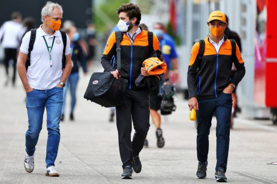 Lando Norris (GBR) McLaren (Right). 17.07.2020. Formula 1 World Championship, Rd 3, Hungarian Grand Prix, Budapest, Hungary, Practice Day. - www.xpbimages.com, EMail: requests@xpbimages.com © Copyright: Moy / XPB Images