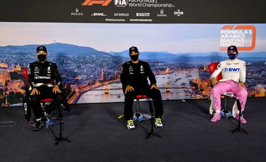 (L to R): Valtteri Bottas (FIN) Mercedes AMG F1; Lewis Hamilton (GBR) Mercedes AMG F1; Lance Stroll (CDN) Racing Point F1 Team RP20, in the post qualifying FIA Press Conference.