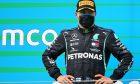 Valtteri Bottas (FIN) Mercedes AMG F1 on the podium.