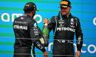 Race winner Lewis Hamilton (GBR) Mercedes AMG F1 celebrates with third placed team mate Valtteri Bottas (FIN) Mercedes AMG F1. 19.07.2020.