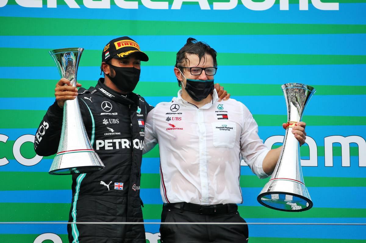 Race winner Lewis Hamilton (GBR) Mercedes AMG F1 celebrates on the podium with Peter Bonnington (GBR) Mercedes AMG F1 Race Engineer.