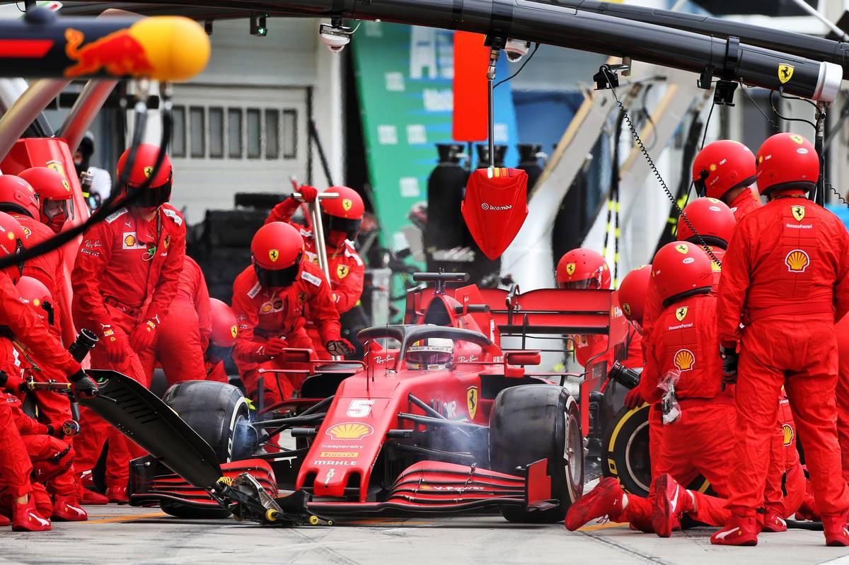 Sebastian Vettel (GER) Ferrari SF1000 makes a pit stop.