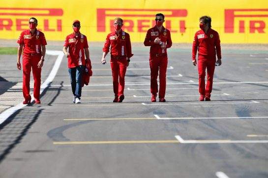 Sebastian Vettel (GER) Ferrari walks the circuit with the team. 30.07.2020. Formula 1 World Championship, Rd 4, British Grand Prix, Silverstone, England, Preparation Day. - www.xpbimages.com, EMail: requests@xpbimages.com © Copyright: Batchelor / XPB Images