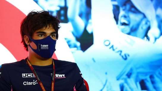 Lance Stroll (CDN) Racing Point F1 Team in the FIA Press Conference. 30.07.2020. Formula 1 World Championship, Rd 4, British Grand Prix, Silverstone, England, Preparation Day. - www.xpbimages.com, EMail: requests@xpbimages.com - copy of publication required for printed pictures. Every used picture is fee-liable. © Copyright: FIA Pool Image for Editorial Use Only