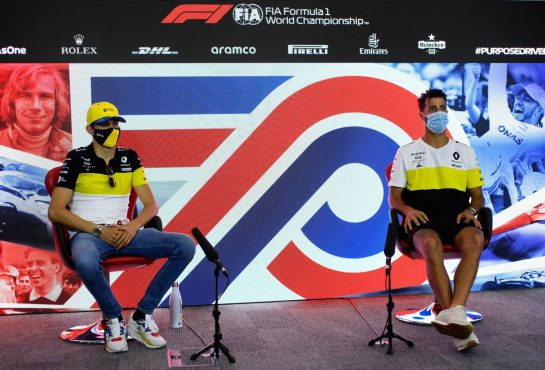 (L to R): Esteban Ocon (FRA) Renault F1 Team and team mate Daniel Ricciardo (AUS) Renault F1 Team in the FIA Press Conference. 30.07.2020. Formula 1 World Championship, Rd 4, British Grand Prix, Silverstone, England, Preparation Day. - www.xpbimages.com, EMail: requests@xpbimages.com - copy of publication required for printed pictures. Every used picture is fee-liable. © Copyright: FIA Pool Image for Editorial Use Only