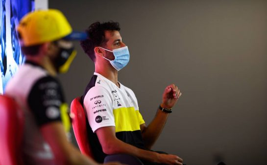 Daniel Ricciardo (AUS) Renault F1 Team in the FIA Press Conference. 30.07.2020. Formula 1 World Championship, Rd 4, British Grand Prix, Silverstone, England, Preparation Day. - www.xpbimages.com, EMail: requests@xpbimages.com - copy of publication required for printed pictures. Every used picture is fee-liable. © Copyright: FIA Pool Image for Editorial Use Only