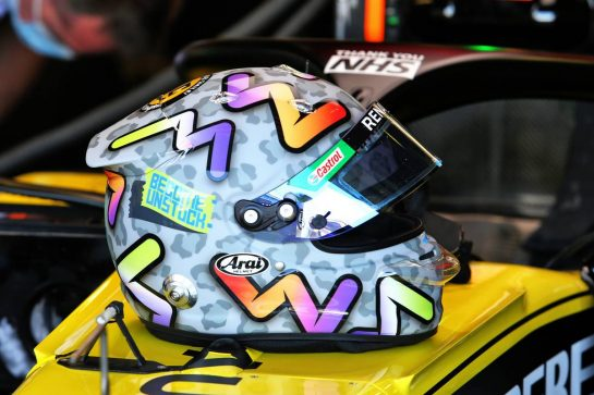 The helmet of Daniel Ricciardo (AUS) Renault F1 Team RS20. 31.07.2020. Formula 1 World Championship, Rd 4, British Grand Prix, Silverstone, England, Practice Day. - www.xpbimages.com, EMail: requests@xpbimages.com © Copyright: Moy / XPB Images