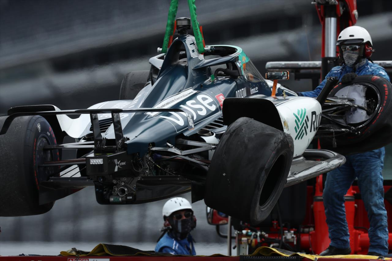 Alonso first driver to crash in Indy practice!
