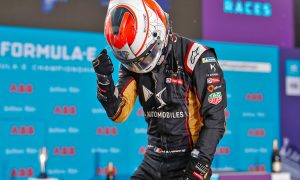 Techeetah celebrate a race win for Jean-Eric Vergne and the series championship for driver Antonio Felix da Costa