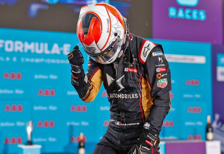 Techeetah celebrate a race win for Jean-Eric Vergne and the series championship for driver Antonio Felix da Costa