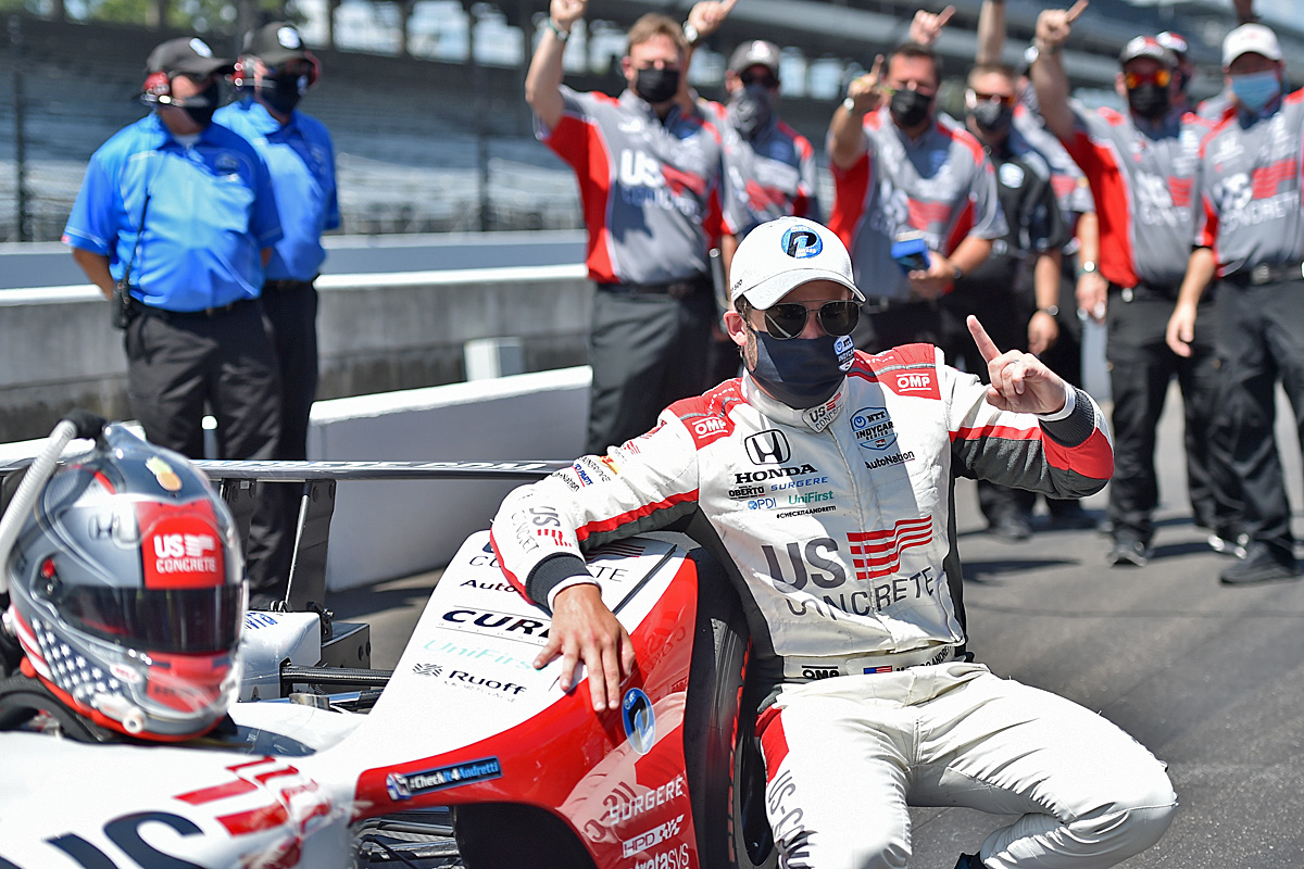 Marco Andretti wins the NTT P1 Award on Pole Day for the Indianapolis 500 at the Indianapolis Motor Speedway