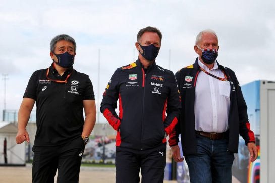 (L to R): Masashi Yamamoto (JPN) Honda Racing F1 Managing Director; Christian Horner (GBR) Red Bull Racing Team Principal; Dr Helmut Marko (AUT) Red Bull Motorsport Consultant.