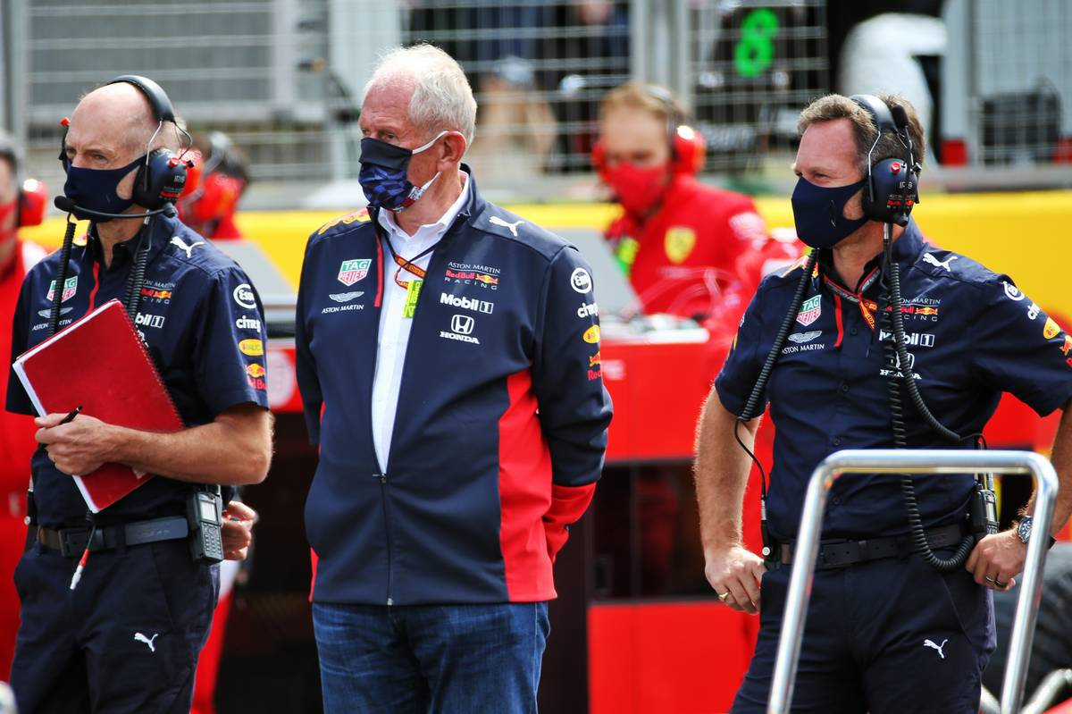 Adrian Newey (GBR) Red Bull Racing Chief Technical Officer; Dr Helmut Marko (AUT) Red Bull Motorsport Consultant; and Christian Horner (GBR) Red Bull Racing Team Principal, on the grid. 02.08.2020. Formula 1 World Championship, Rd 4, British Grand Prix