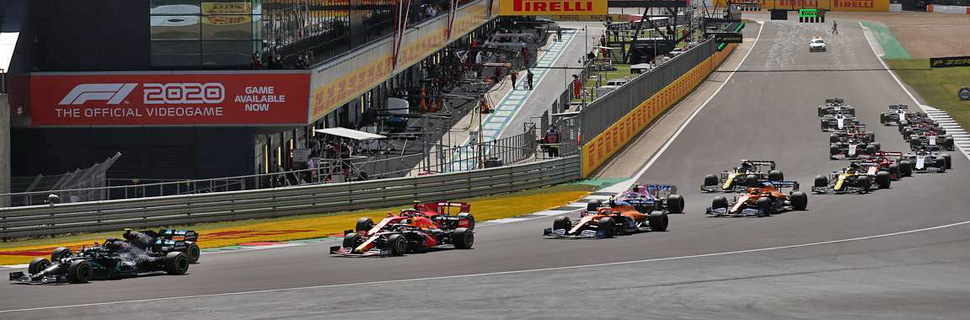 Lewis Hamilton (GBR) Mercedes AMG F1 W11 leads the start of the race. 02.08.2020.