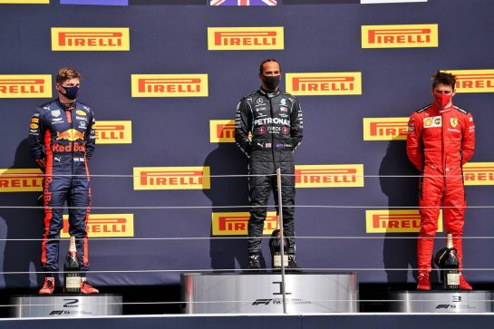The podium (L to R): Max Verstappen (NLD) Red Bull Racing, second; Lewis Hamilton (GBR) Mercedes AMG F1, race winner; Charles Leclerc (MON) Ferrari, third.                                02.08.2020. Formula 1 World Championship, Rd 4, British Grand Prix, Silverstone, England, Race Day. - www.xpbimages.com, EMail: requests@xpbimages.com © Copyright: Dungan / XPB Images