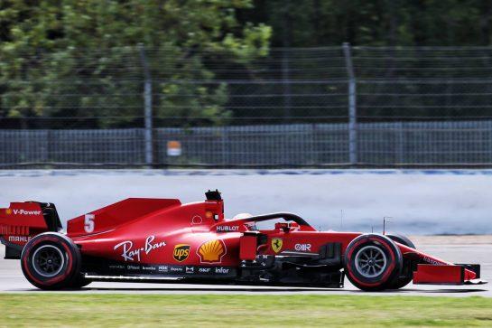 Sebastian Vettel (GER) Ferrari SF1000. 08.08.2020. Formula 1 World Championship, Rd 5, 70th Anniversary Grand Prix, Silverstone, England, Qualifying Day. - www.xpbimages.com, EMail: requests@xpbimages.com © Copyright: Batchelor / XPB Images
