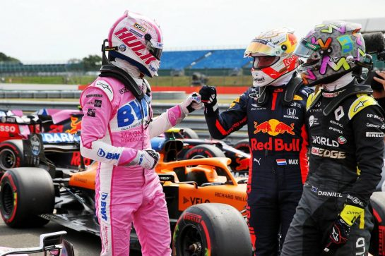 (L to R): Nico Hulkenberg (GER) Racing Point F1 Team celebrates his third position in qualifying parc ferme with Max Verstappen (NLD) Red Bull Racing and Daniel Ricciardo (AUS) Renault F1 Team. 08.08.2020. Formula 1 World Championship, Rd 5, 70th Anniversary Grand Prix, Silverstone, England, Qualifying Day. - www.xpbimages.com, EMail: requests@xpbimages.com © Copyright: Batchelor / XPB Images