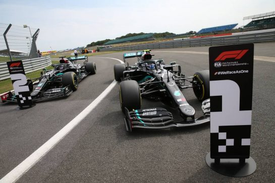 Pole position for Valtteri Bottas (FIN) Mercedes AMG F1 W11 and 2nd for Lewis Hamilton (GBR) Mercedes AMG F1 W11.08.08.2020. Formula 1 World Championship, Rd 5, 70th Anniversary Grand Prix, Silverstone, England, Qualifying Day.- www.xpbimages.com, EMail: requests@xpbimages.com © Copyright: Batchelor / XPB Images