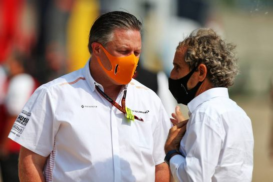(L to R): Zak Brown (USA) McLaren Executive Director with Alain Prost (FRA) Renault F1 Team Non-Executive Director. 09.08.2020. Formula 1 World Championship, Rd 5, 70th Anniversary Grand Prix, Silverstone, England, Race Day. - www.xpbimages.com, EMail: requests@xpbimages.com © Copyright: Moy / XPB Images