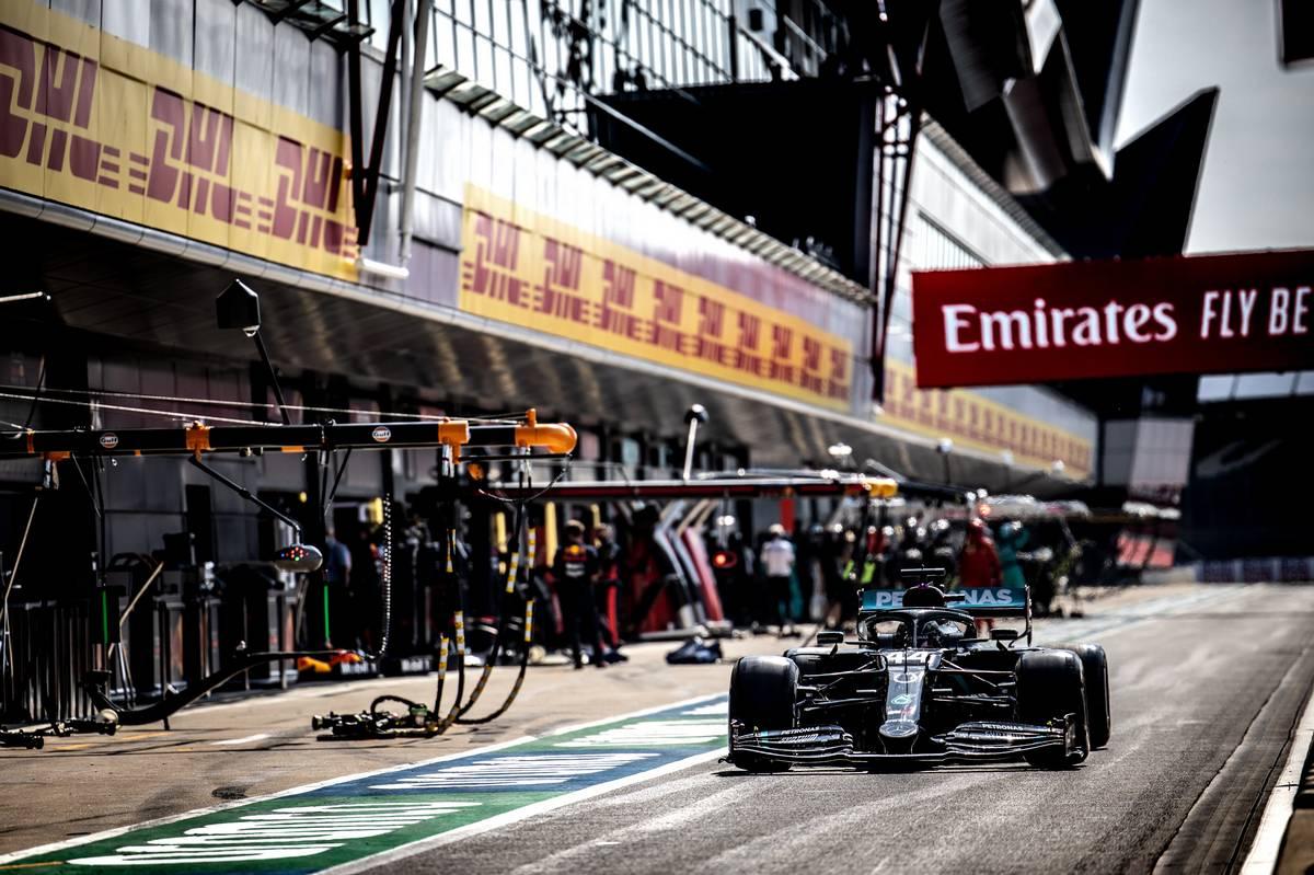Lewis Hamilton (GBR) Mercedes AMG F1 W11 leaves the pits.