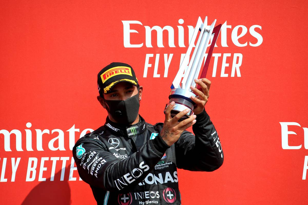 Lewis Hamilton (GBR) Mercedes AMG F1 celebrates his second position on the podium.