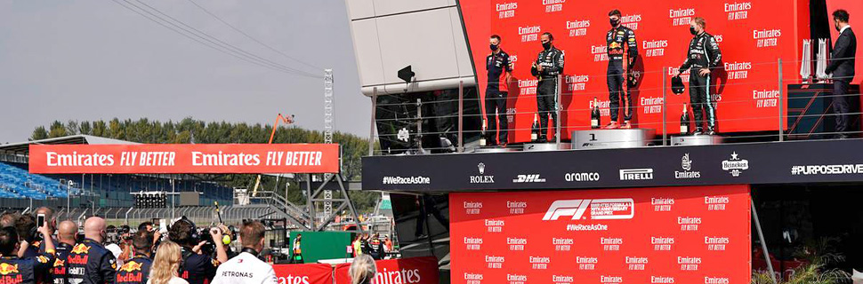 Podium at the 70th Anniversary Grand Prix - Silverstone - August 9 2020.