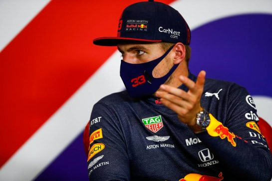 Max Verstappen (NLD) Red Bull Racing in the post race FIA Press Conference. 09.08.2020. Formula 1 World Championship, Rd 5, 70th Anniversary Grand Prix, Silverstone, England, Race Day. - www.xpbimages.com, EMail: requests@xpbimages.com - copy of publication required for printed pictures. Every used picture is fee-liable. © Copyright: FIA Pool Image for Editorial Use Only