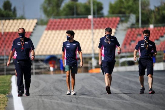 Sergio Perez (MEX) Racing Point F1 Team walks the circuit with the team. 13.08.2020. Formula 1 World Championship, Rd 6, Spanish Grand Prix, Barcelona, Spain, Preparation Day. - www.xpbimages.com, EMail: requests@xpbimages.com © Copyright: Batchelor / XPB Images