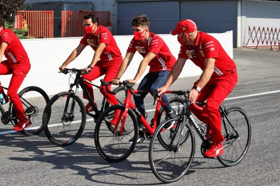 Charles Leclerc (MON) Ferrari rides the circuit with the team. 13.08.2020. Formula 1 World Championship, Rd 6, Spanish Grand Prix, Barcelona, Spain, Preparation Day. - www.xpbimages.com, EMail: requests@xpbimages.com © Copyright: Batchelor / XPB Images