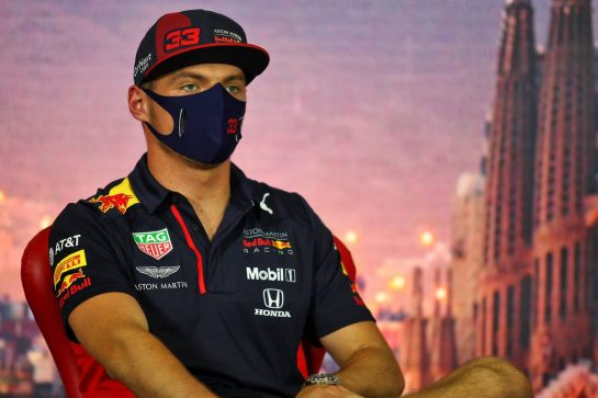 Max Verstappen (NLD) Red Bull Racing in the FIA Press Conference. 13.08.2020. Formula 1 World Championship, Rd 6, Spanish Grand Prix, Barcelona, Spain, Preparation Day. - www.xpbimages.com, EMail: requests@xpbimages.com © Copyright: Filipe / XPB Images