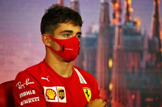 Charles Leclerc (MON) Ferrari in the FIA Press Conference. 13.08.2020. Formula 1 World Championship, Rd 6, Spanish Grand Prix, Barcelona, Spain, Preparation Day. - www.xpbimages.com, EMail: requests@xpbimages.com © Copyright: Filipe / XPB Images