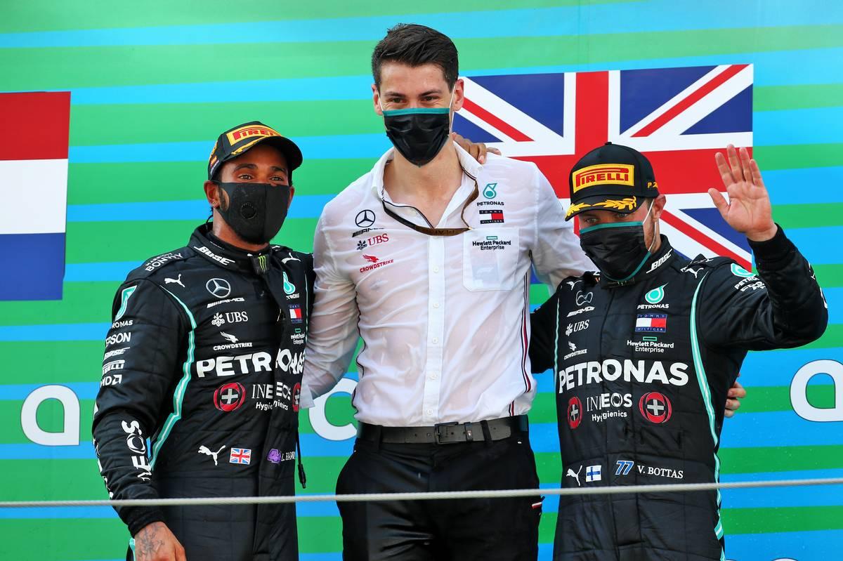 Race winner Lewis Hamilton (GBR) Mercedes AMG F1 (Left) and team mate Valtteri Bottas (FIN) Mercedes AMG F1 (Right) celebrate on the podium.