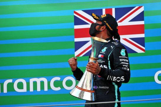 Race winner Lewis Hamilton (GBR) Mercedes AMG F1 celebrates on the podium. 16.08.2020. Formula 1 World Championship, Rd 6, Spanish Grand Prix, Barcelona, Spain, Race Day. - www.xpbimages.com, EMail: requests@xpbimages.com © Copyright: Batchelor / XPB Images