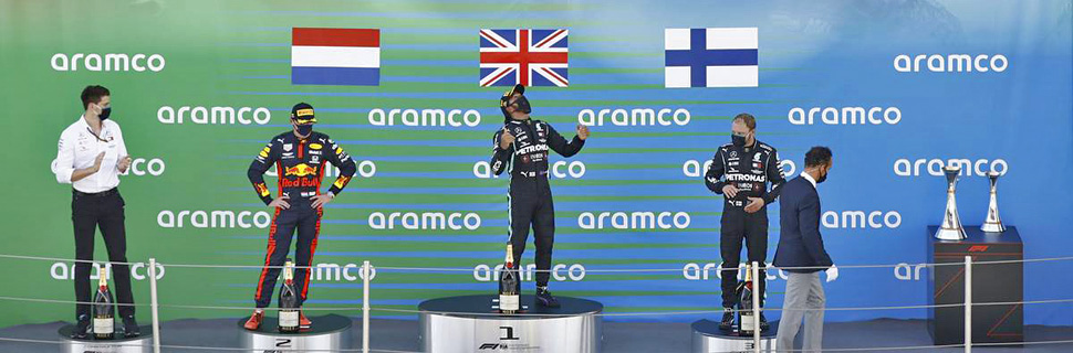The podium (L to R): Max Verstappen (NLD) Red Bull Racing, second; Lewis Hamilton (GBR) Mercedes AMG F1, race winner; Valtteri Bottas (FIN) Mercedes AMG F1, third. 16.08.2020.