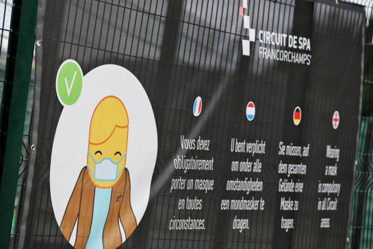 Circuit atmosphere - Mask wearing notice. 28.08.2020. Formula 1 World Championship, Rd 7, Belgian Grand Prix, Spa Francorchamps, Belgium, Practice Day. - www.xpbimages.com, EMail: requests@xpbimages.com © Copyright: Batchelor / XPB Images