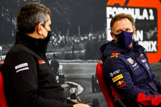 (L to R): Guenther Steiner (ITA) Haas F1 Team Prinicipal and Christian Horner (GBR) Red Bull Racing Team Principal in the FIA Press Conference. 28.08.2020. Formula 1 World Championship, Rd 7, Belgian Grand Prix, Spa Francorchamps, Belgium, Practice Day. - www.xpbimages.com, EMail: requests@xpbimages.com - copy of publication required for printed pictures. Every used picture is fee-liable. © Copyright: FIA Pool Image for Editorial Use Only