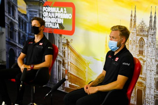 (L to R): Romain Grosjean (FRA) Haas F1 Team and Kevin Magnussen (DEN) Haas F1 Team in the FIA Press Conference. 03.09.2020. Formula 1 World Championship, Rd 8, Italian Grand Prix, Monza, Italy, Preparation Day. - www.xpbimages.com, EMail: requests@xpbimages.com - copy of publication required for printed pictures. Every used picture is fee-liable. © Copyright: FIA Pool Image for Editorial Use Only