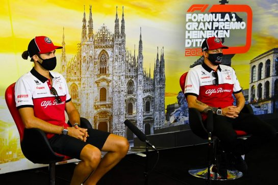 (L to R): Antonio Giovinazzi (ITA) Alfa Romeo Racing and Kimi Raikkonen (FIN) Alfa Romeo Racing in the FIA Press Conference. 03.09.2020. Formula 1 World Championship, Rd 8, Italian Grand Prix, Monza, Italy, Preparation Day. - www.xpbimages.com, EMail: requests@xpbimages.com - copy of publication required for printed pictures. Every used picture is fee-liable. © Copyright: FIA Pool Image for Editorial Use Only