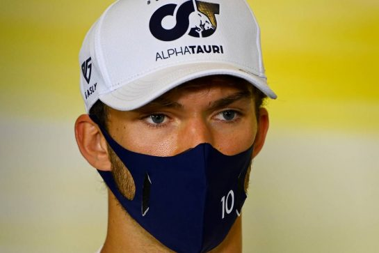 Pierre Gasly (FRA) AlphaTauri in the FIA Press Conference. 03.09.2020. Formula 1 World Championship, Rd 8, Italian Grand Prix, Monza, Italy, Preparation Day. - www.xpbimages.com, EMail: requests@xpbimages.com - copy of publication required for printed pictures. Every used picture is fee-liable. © Copyright: FIA Pool Image for Editorial Use Only