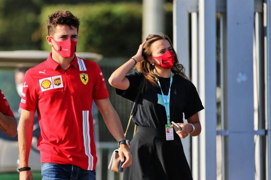 Charles Leclerc (MON) Ferrari with his girlfriend Charlotte Sine (MON).