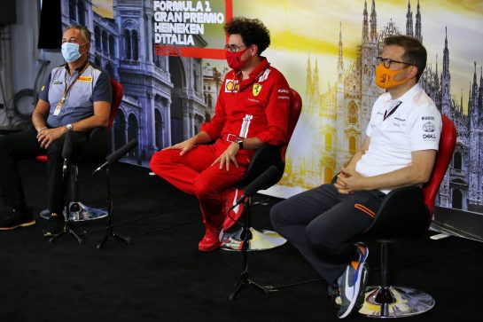 The FIA Press Conference (L to R): Mario Isola (ITA) Pirelli Racing Manager; Mattia Binotto (ITA) Ferrari Team Principal; Andreas Seidl, McLaren Managing Director.