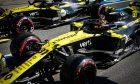 Daniel Ricciardo (AUS) Renault F1 Team RS20 and Esteban Ocon (FRA) Renault F1 Team RS20 leave the pits.