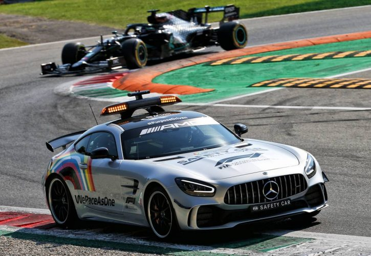 Lewis Hamilton (GBR) Mercedes AMG F1 W11 leads behind the FIA Safety Car.