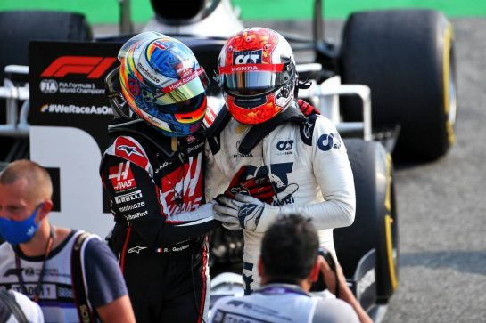Race winner Pierre Gasly (FRA) AlphaTauri celebrates with Romain Grosjean (FRA) Haas F1 Team in parc ferme. 06.09.2020. Formula 1 World Championship, Rd 8, Italian Grand Prix, Monza, Italy, Race Day. - www.xpbimages.com, EMail: requests@xpbimages.com - copy of publication required for printed pictures. Every used picture is fee-liable. © Copyright: Charniaux / XPB Images