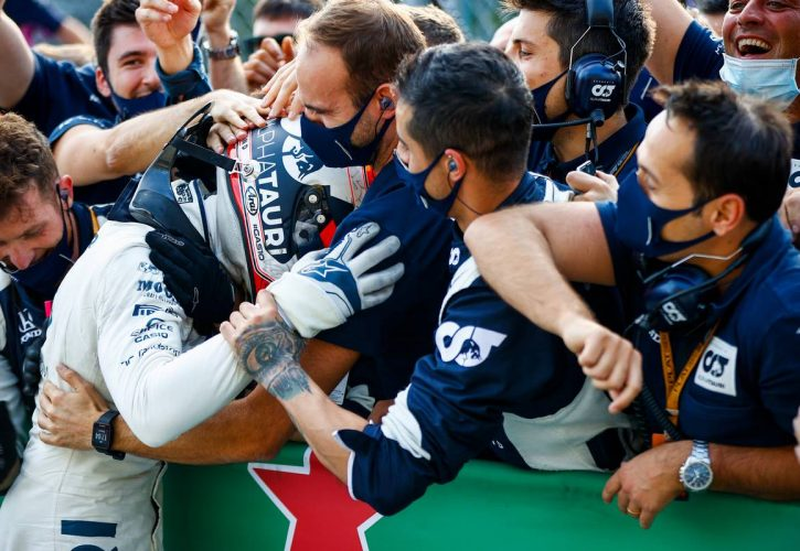 Race winner Pierre Gasly (FRA) AlphaTauri celebrates with the team in parc ferme.