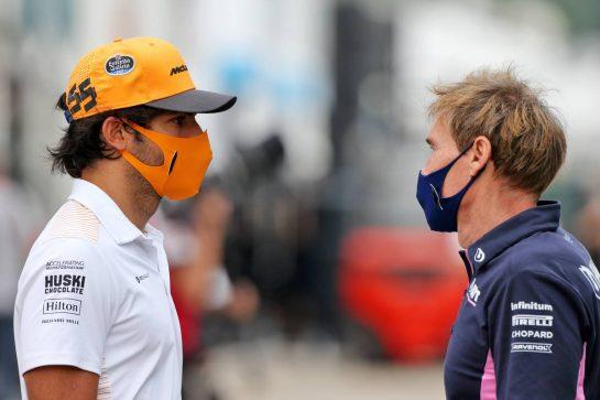 (L to R): Carlos Sainz Jr (ESP) McLaren with Xavi Martos (ESP) Racing Point F1 Team Physio. 10.09.2020. Formula 1 World Championship, Rd 9, Tuscan Grand Prix, Mugello, Italy, Preparation Day. - www.xpbimages.com, EMail: requests@xpbimages.com © Copyright: Moy / XPB Images
