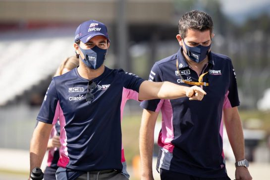 Sergio Perez (MEX) Racing Point F1 Team walks the circuit with the team. 10.09.2020. Formula 1 World Championship, Rd 9, Tuscan Grand Prix, Mugello, Italy, Preparation Day. - www.xpbimages.com, EMail: requests@xpbimages.com © Copyright: Bearne / XPB Images